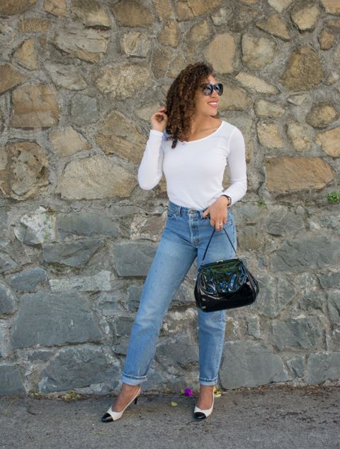 With white shirt, classic jeans and black and white shoes