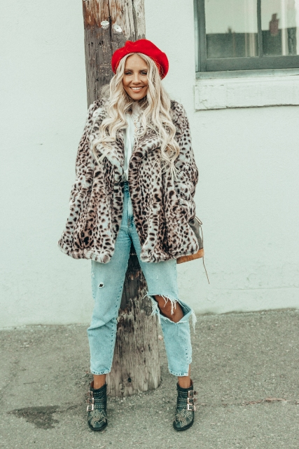 With white shirt, distressed jeans, ankle boots and leopard jacket