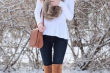 With white shirt, skinny pants, brown suede over the knee boots, fur scarf and brown bag