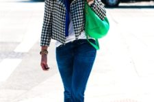 With white t-shirt, blue scarf, jeans, blue pumps and printed jacket