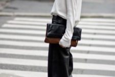 black cropped leather culottes, a white turtleneck, black suede boots and a clutch, just add a coat on top