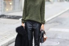 black cropped pants, a green sweater, a grey beanie, black peep toe shoes and a black teddy bear coat