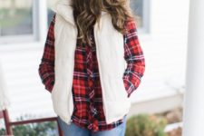cozy holiday look with a plaid shirt