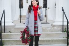 02 a plaid mini, a red oversized sweater, a grey coat with faux fur, black booties for holidays