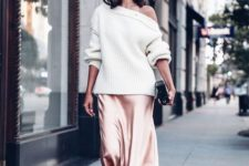 02 a rose gold silk midi skirt, a white one shoulder sweater, blush shoes and a black clutch to rock