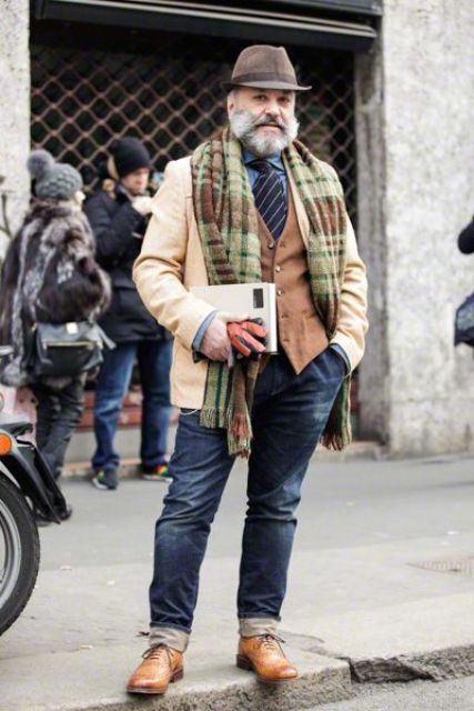 navy jeans, a blue shirt, a striped tie, a brown waistcoat, brown shoes, a camel short coat and a hat