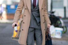 02 polish your office look like a grey suit with a tie with a camel overcoat and brown shoes