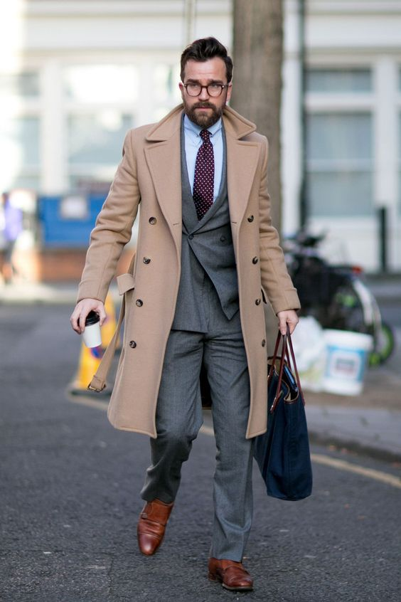 polish your office look like a grey suit with a tie with a camel overcoat and brown shoes