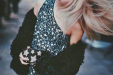 03 a black and silver sequin one shoulder mini dress and a black teddy coat for a shiny party outfit