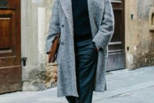 03 a casual office look with grey pants, a black turtleneck, a grey printed overcoat, black shoes
