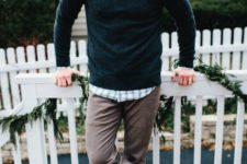 03 a plaid shirt, a dark green sweater, brown pants, grey sneakers for an effortlessly chic look