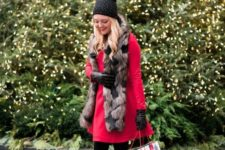 03 a red knee dress, black tights, black velvet heels, a faux fur scarf and a polka dot beanie plus gloves