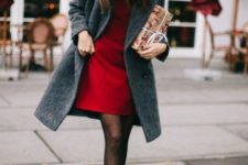 a red short dress, printed tights, black booties and a grey woolen coat for a comfy and sexy look