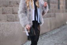 03 a white blouse with a black tie, black leather pants, tall black boots and a grey fur coat