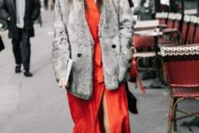04 a red wrap midi dress, a grey fur coat and white and red sneakers for feeling comfy and stylish