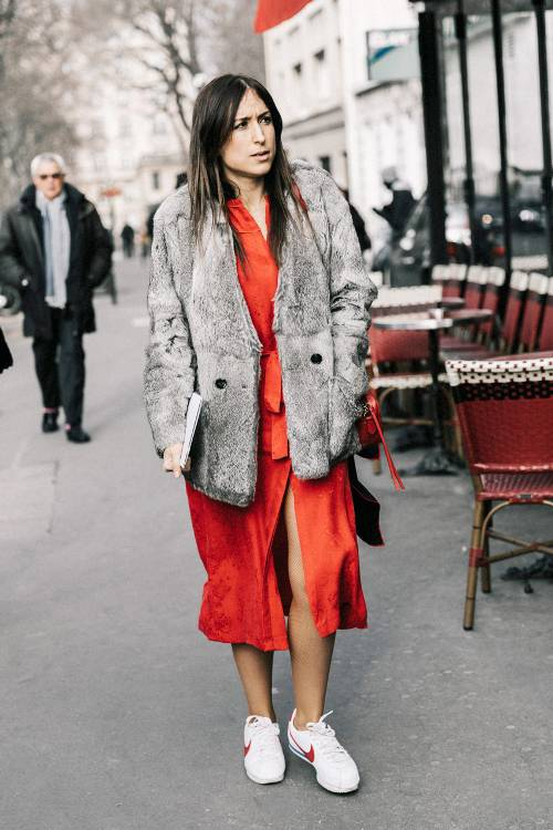 a red wrap midi dress, a grey fur coat and white and red sneakers for feeling comfy and stylish