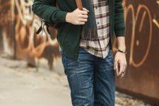 04 blue jeans, a plaid shirt, beige boots, a dark green cardigan, scarf and a beanie