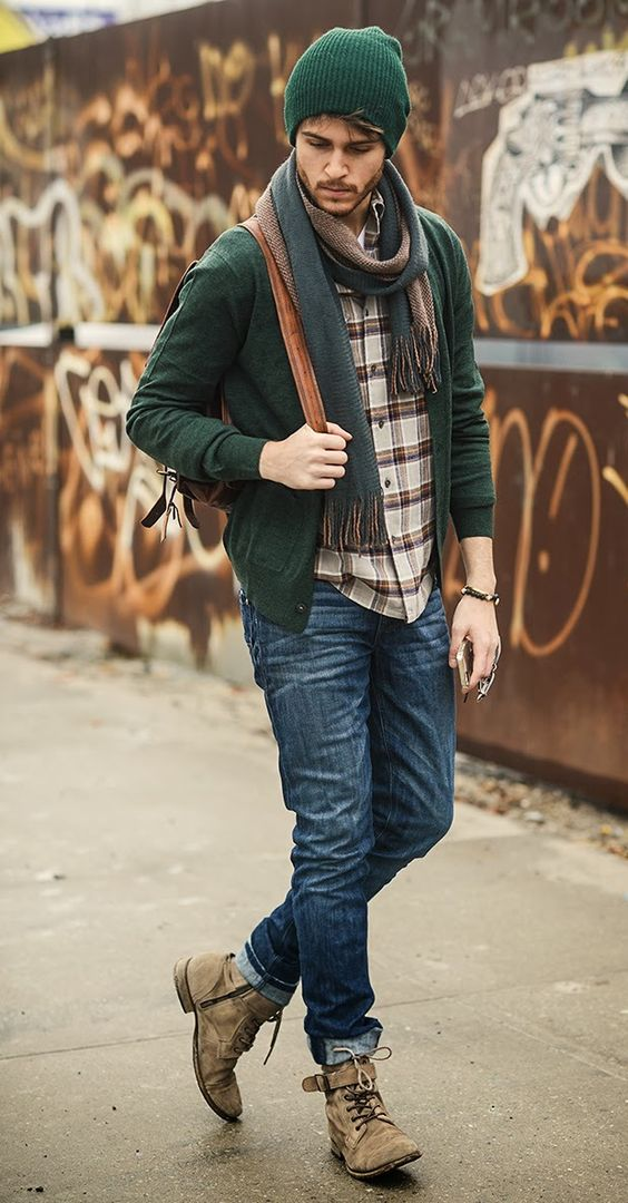 blue jeans, a plaid shirt, beige boots, a dark green cardigan, scarf and a beanie