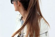 05 a messy ponytail with long straight hair and a messy bump is ideal to wear to work, college or anywhere else