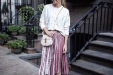 05 a pink pleated midi, a white dotted sweater, dusty pink shoes and a neutral bag for a comfy and chic look