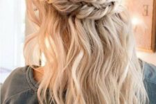 05 a romantic half updo with a double braided halo and waves plus bangs for parties