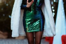 05 an emerald sequin mini dress, a white teddy coat, black tight and black boots is a trendy look