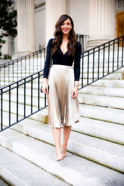 a black bodysuit, a metallic pleated midi skirt, a red lip and nude heels for a sexy but not too much look