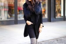 06 black skinnies, a black sweater, tal grey boots, a black coat with fur a sexy and sleek look