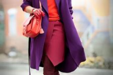 06 plum-colored tall boots, a fuchsia wrap skirt, a coral sweater, a purple midi coat and a coral bag