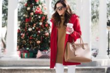 07 a camel long sweater, whiet skinnies, a camel bag, a red parka for cold festive days
