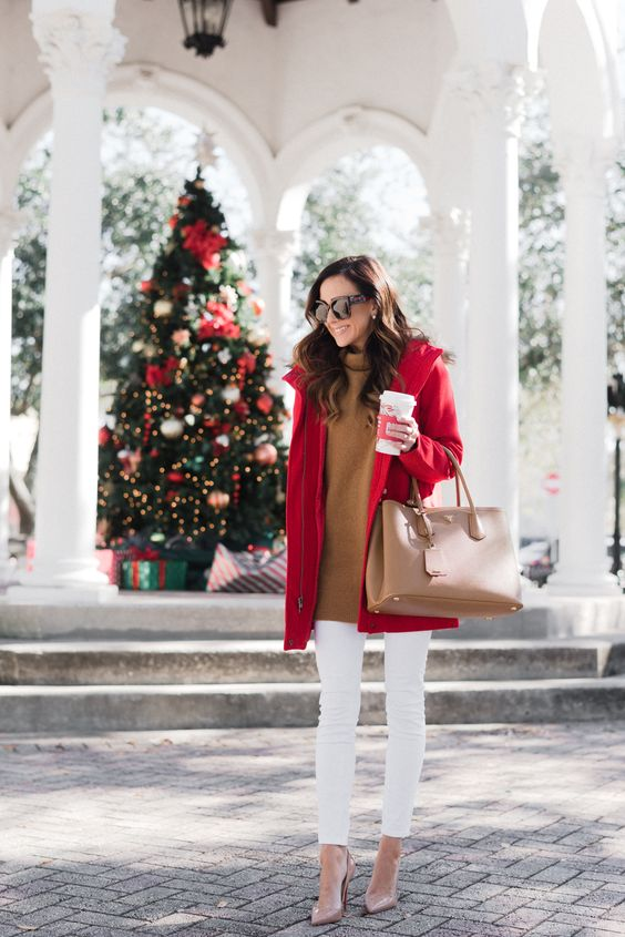 a camel long sweater, whiet skinnies, a camel bag, a red parka for cold festive days