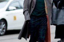 07 a dark green turtleneck, green plaid pants, brown chelsea boots and a grey overcoat