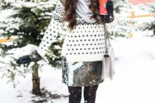 07 a printed sweater, a silver sequin short skirt, black tights, black booties, a grey beanie and mittens