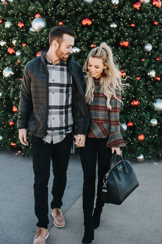 black jeans, a plaid shirt and a puffer jacket make up a simple holiday outfit