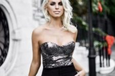 07 black pants, a strapless silver sequin top, a white blazer and heels for a chic and shiny look