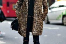 07 black ripped skinnies, a black turtleneck sweater, a black leather jacket, a leopard print coat, black shoes
