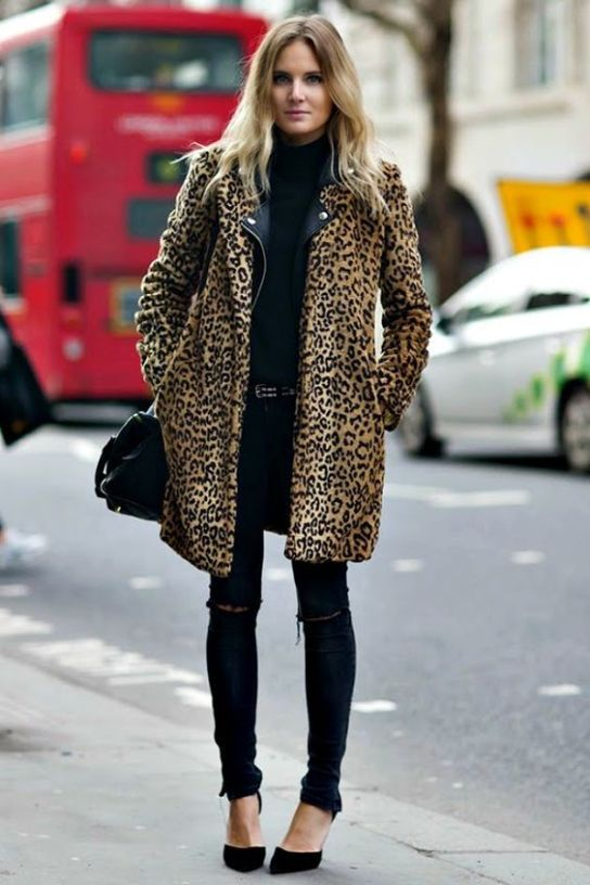 black ripped skinnies, a black turtleneck sweater, a black leather jacket, a leopard print coat, black shoes