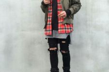 winter look with a bomber jacket