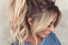 08  a messy and wavy very high ponytail with wavy bangs is a girlish idea to try