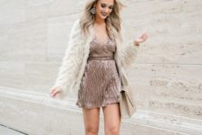 08 a rose gold sequin mini dress, nude shoes with lacing, a neutral fur coat and a nude bag plus a dark lip