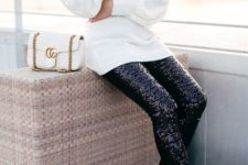 08 a white off the shoulder sweater, black sequin leggings, leopard print shoes and a white bag