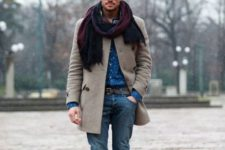 08 blue jeans, a blue printed shirt, a neutral coat, black boots and a colorful scarf