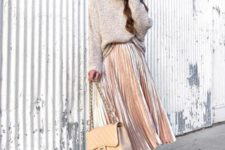 09 a blush velvet midi skirt, dusty pink shoes, a neutral oversized sweater, a neutral bag for a tender look