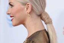 09 a creative low ponytail with a hair wrap is a chic and minimalist idea to try