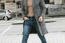 09 a simple casual look with blue jeans, a tan long sleeve, brown boots and a grey plaid overcoat