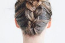 09 a top knot with a braid is a creative and comfy hairstyle that will last long