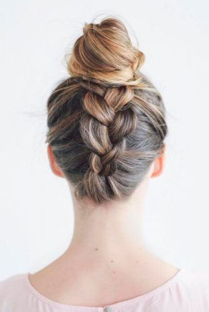 a top knot with a braid is a creative and comfy hairstyle that will last long