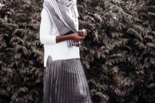 09 a white sweater, a grey striped scarf, a metallic pleated midi skirt, white sneakers for a sporty touch