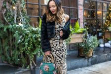 10 a black and gold sequin slip dress, lace up shoes, a green printed bag and a fur cropped jacket