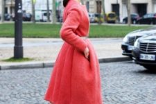 10 a coral pink midi coat, black platform booties will make your look trendy and stylish